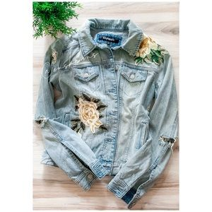 Express Floral Distressed Jean Jacket